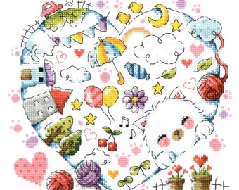 The Kitten Village - SO-3151 - Cross Stitch Pattern Leaflet SODA Stitch - Modern Cross Stitch Chart - Kawaii White Cat - Cat Yarn XStitch