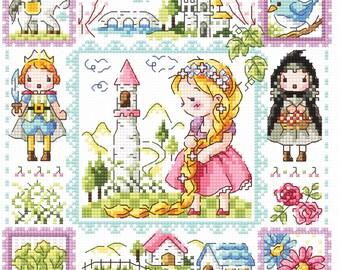 Rapunzel Princess- SO-3220 - Cross Stitch Pattern Leaflet SODA Stitch - Modern Cross Stitch Chart - Kawaii XSitch - Fairy Tale Princess