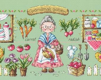 Grandma's Garden - SO-G117 - Cross Stitch Pattern Leaflet SODA Stitch - Modern Cross Stitch Chart - Vegetable Garden Cross Stitch