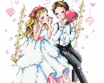 Precious Gifts - SO-3202 Cross Stitch Pattern Leaflet SODA Stitch - Wedding Modern Cross Stitch Chart - Kawaii Couple - XStitch