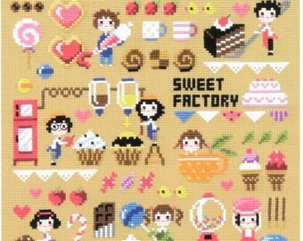 Sweet Factory - SO-3175 - Cross Stitch Pattern Leaflet SODA Stitch - Modern Cross Stitch Chart - Kawaii Couple - Candy Sampler XStitch