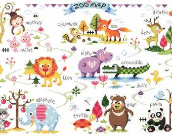 Zoo Map - SO-G73 - Animal Cross Stitch Pattern Leaflet SODA Stitch - Modern Cross Stitch Chart - Kawaii Zoo Sampler Cross Stitch