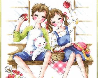 One Day In the Country - SO-3176 Cross Stitch Pattern Leaflet SODA Stitch - Modern Cross Stitch Chart - Kawaii Couple - XStitch