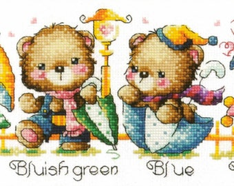 Rainbow Bears- SO-G11 - Cross Stitch Pattern Leaflet SODA Stitch - Modern Cross Stitch Chart - Kawaii Bears with Umbrella Cross Stitch