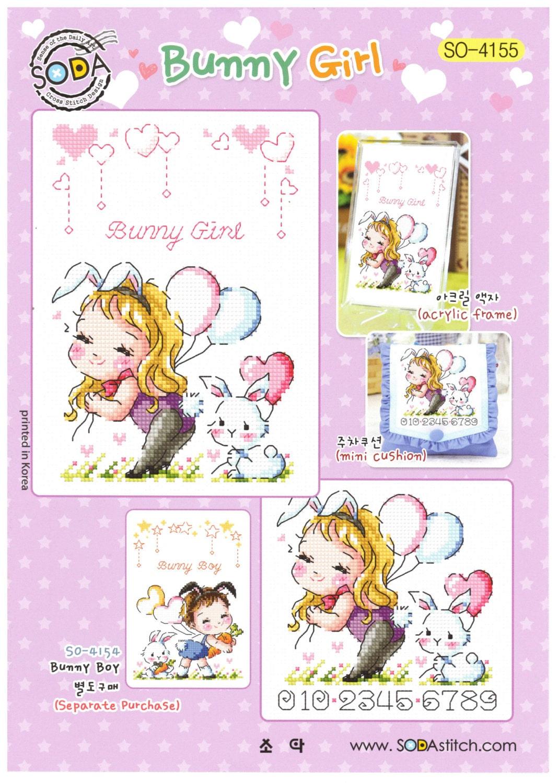 bunny girl so 4155 cross stitch pattern leaflet soda stitch etsy