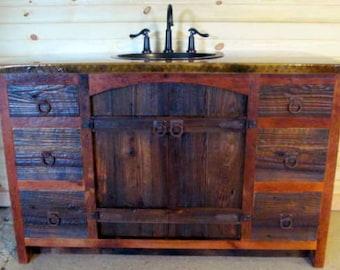 Arched Barnwood Vanity - Rustic Vanity- Reclaimed Wood Vanity