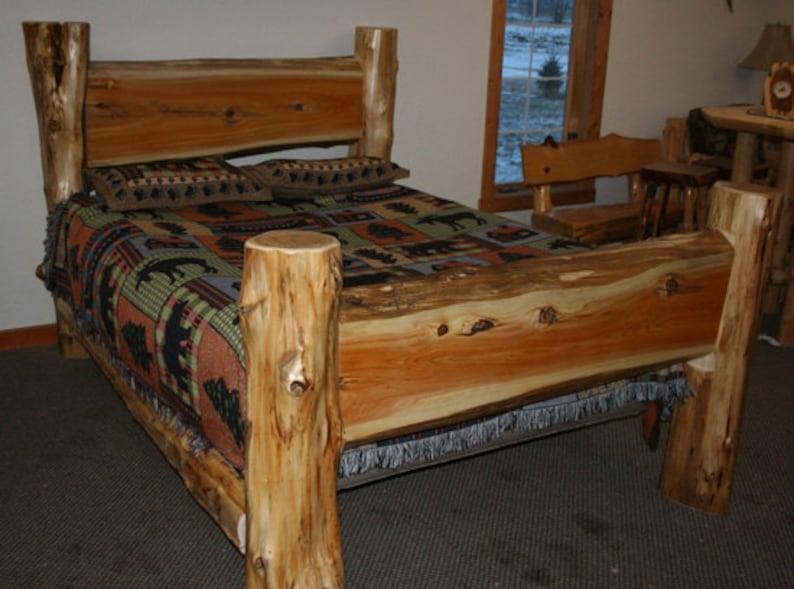 CEDAR LOG BED Cedar Slab Bed  Queen Log Bed image 0