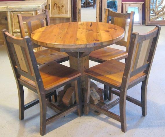 round barnwood table barnwood dining table reclaimed wood etsy rh etsy com