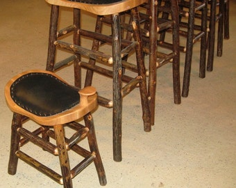 Childs Hickory Log Saddle Stool With Upholstered Seat