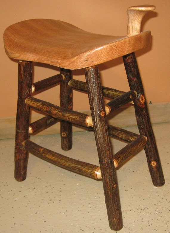 Peachy Childs Hickory Log Saddle Stool With Wooden Seat Machost Co Dining Chair Design Ideas Machostcouk