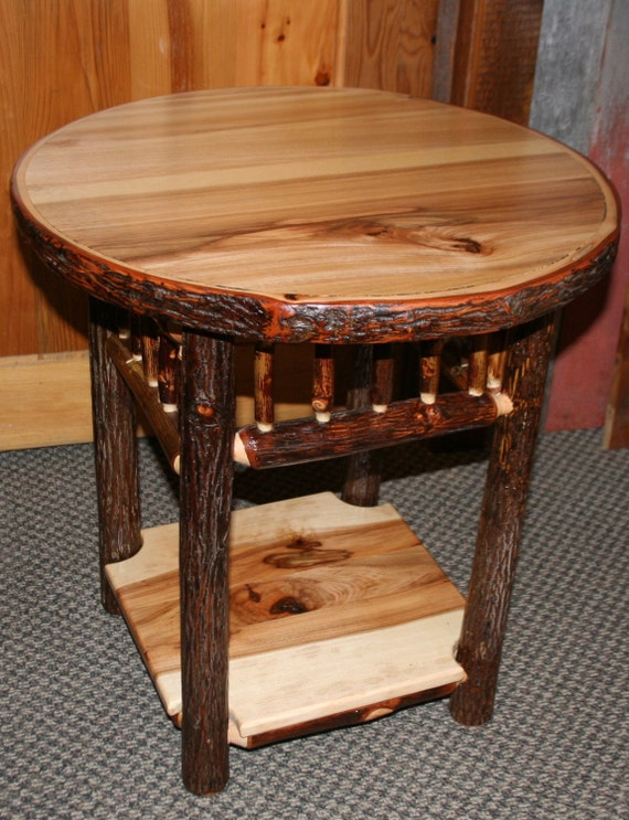 HICKORY LOG Side TABLE Old Fashioned Hickory Side Table Etsy - Old fashioned side table