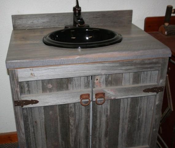 Ordinaire Weathered Gray Reclaimed Wood Bathroom Vanity | Etsy