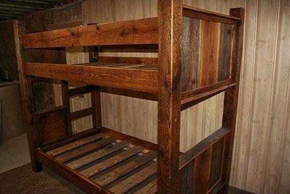 barnwood bunk bed etsy. Black Bedroom Furniture Sets. Home Design Ideas