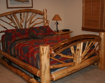 Full LOG BED- Bent BRANCH Bed - Wagon Wheel Bed