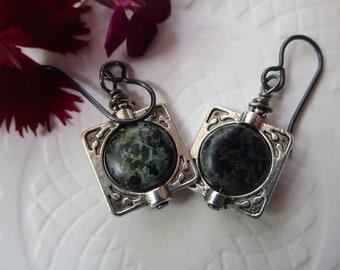 Blue Crystal *SALE* Oval Starburst Czech Glass Earrings; Unique Glass Earrings; One Of A Kind Earrings; Hypoallergenic Niobium French Hooks