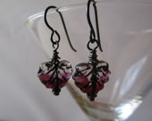 Purple Window Glass Leaf Earrings Hypoallergenic French Hooks and Table Cut Window Glass Beads Simple Crystal Glass Leaf Beads