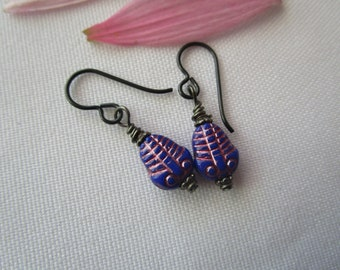 Leaf Double Dangle Earrings Iridescent Czech Glass Flowers Leaves Boho Drop Earrings Silver Tone Finishes Opalescent Pink Floral