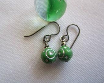 Blue Green and Silver Tibetan Frame Earrings; Pretty Unique Ethnic or Bohemian Czech Glass Earrings with Hypoallergenic Hooks