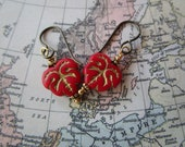 Pretty Red Glass Leaf Earrings Unique Czech Table Cut Beads Hypoallergenic Niobium French Hooks and Beautiful Vibrant Picasso Glass Beads