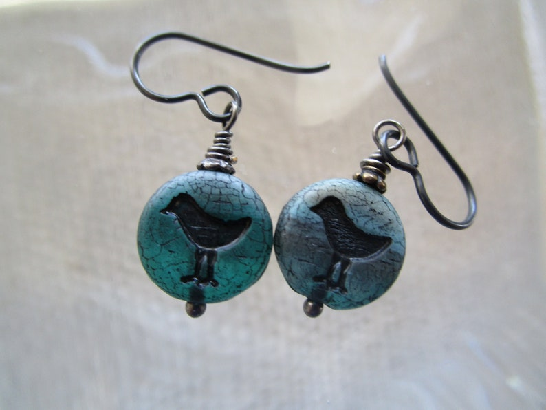 Cute Glass; Hypoallergenic Niobium Ear Wires Matte Teal Bird or Chick Glass Earrings; Short Czech Coin Earrings; Unique