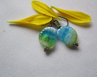 Translucent Aquamarine Nautilus Czech Glass Earrings with Hypoallergenic Niobium Ear Wires and Translucent Pressed Glass Spirals