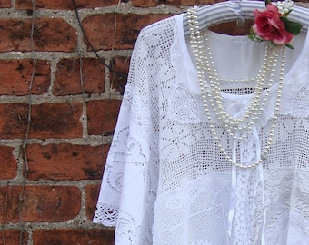 GORGEOUS PURE X SIMPLE X Slouchy Oversized Recycled Linen Cotton Patchwork Loose Fitting Lace Throw Over Tunic Size Xl Xxl