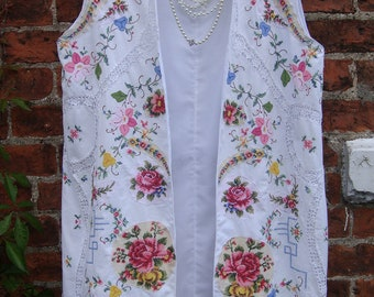 RESERVED Most Gorgeous White Cotton Embroidered Boho Hippy Long Vest Waistcoat Recycled Linen Heavily Embroidery Floral Work SIZE  L XL