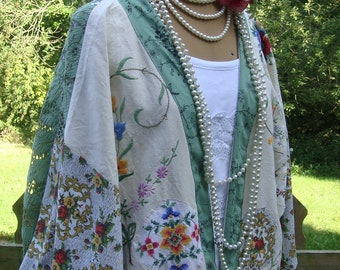 GREEN LACE X EMBROIDERED X Duster Coat Recycled Vintage Fabrics Floral Cream Linen Cotton Kimono Size Xxl Xl