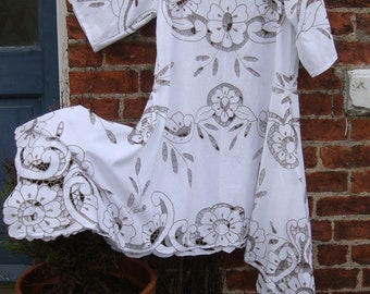 1920's Style Coffee Cutwork WHITE COTTON Recycled Tablecloth Dress with Drapes Loose Fitting Style SIZE L