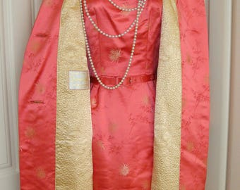 50's Spectacular Coral Pink  Satin Wiggle Dress & Matching Swing Coat Hong Kong Hilton Hotel
