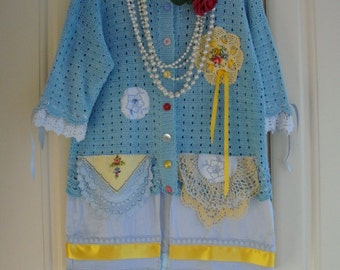 Gorgeous Upcycled Vintage Lace Recycled Cotton Doily Embriodered Ribboned Blues Jacket Cardigan