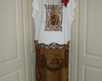 Stunning 1920's Gatsby Downton Abbey Vintage Lace Dress Drop Waist Cutwork Battenberg  in White and Chestnut Brown