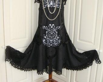 Beautiful Vintage Battenburg Cotton Lace Wedding Drop Waist 1920's Style Goth Alternative Jet Black Cutwork Flapper Dress