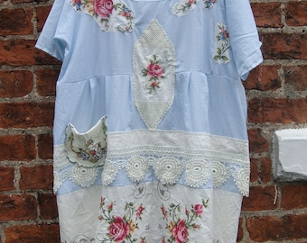 AQUA X STRIPED SMOCK X Embroidered Roses Cotton Recycled Linen Over sized Dress Tunic Vintage Lace Size L