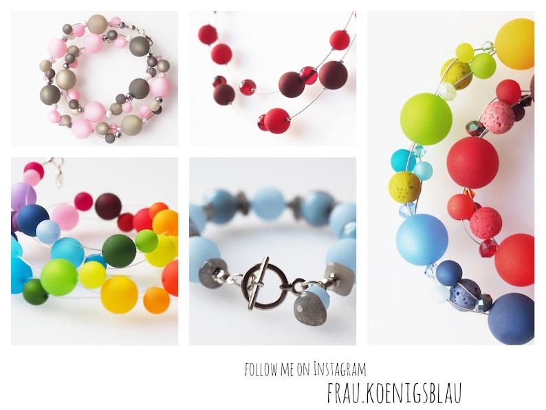 rainbow necklace with big polaris beads colorful collier chain polaris dark red blue green orange purple