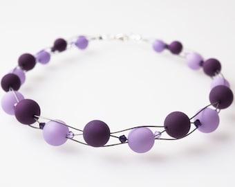 purple necklace big pearls with Swarovski® Kristallen violet polaris necklace