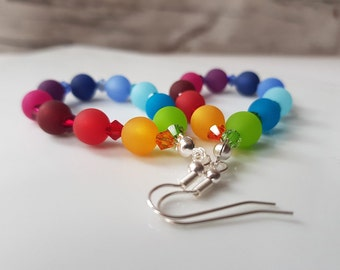 rainbow earrings colorful statement earrings with Swarovski® Crystals