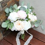 Balance for Custom Bouquets - white, light peach & blush pink roses and peonies with lots of greenery including eucalyptus, baby's breath.
