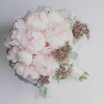 Peony Bouquet Pale Pink - White Ranunculus, Peonies, Dusty Miller & Berries Wedding Bridal Bouquet