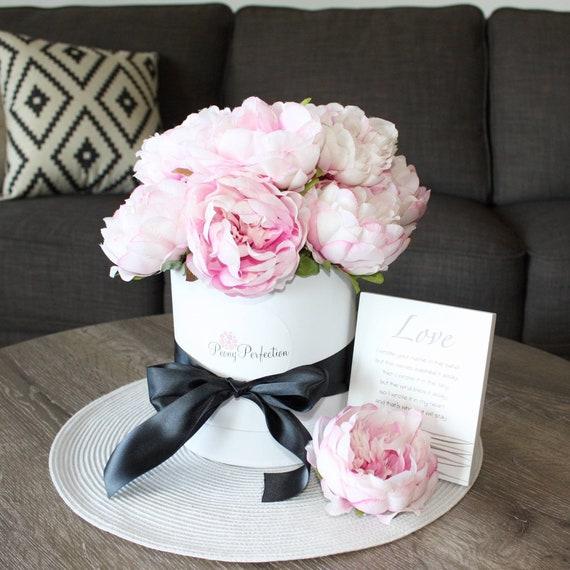 Silk Pink Peony Box With Ribbon Gift Keepsake Desk Table Etsy
