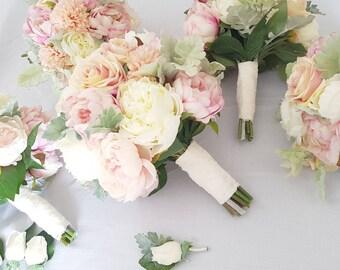 Peony Bouquet, Rose, Chrysanthemum & Dusty Miller Wedding Bouquet Silk Peonies