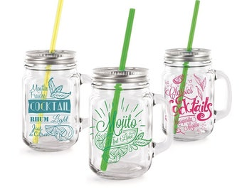 Mason jar, cocktail glass and its reusable straw for your cocktails!