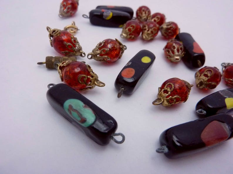 Vintage 1950s Venetian Glass Beads from Broken Necklace Rectangular Red Crackle Glass 23181