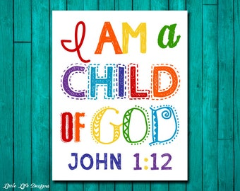 Christian Wall Art Childrens Room Decor I am a child of Etsy