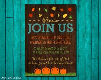 fall leaf invitation etsy