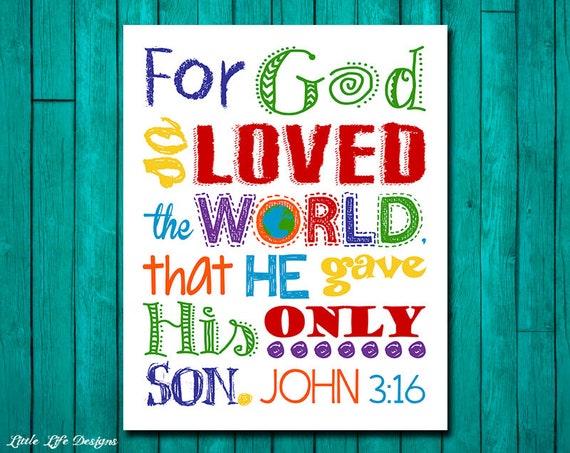For God so loved the world. John 3:16. Church Wall Art. Sunday | Etsy