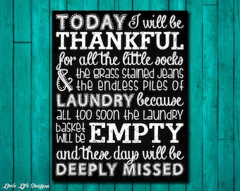 Laundry Room Sign. Piles of Laundry. Laundry Room Decor. Thankful for Laundry. Wash Room. Inspirational Laundry Room Chalkboard. 2 Versions!