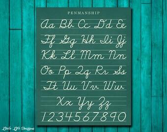 Cursive Alphabet Letters Classroom Sign Vintage Teacher