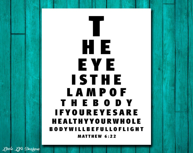 Eye Chart Wall Art The Eye Is The Lamp Of The Body Matthew Etsy