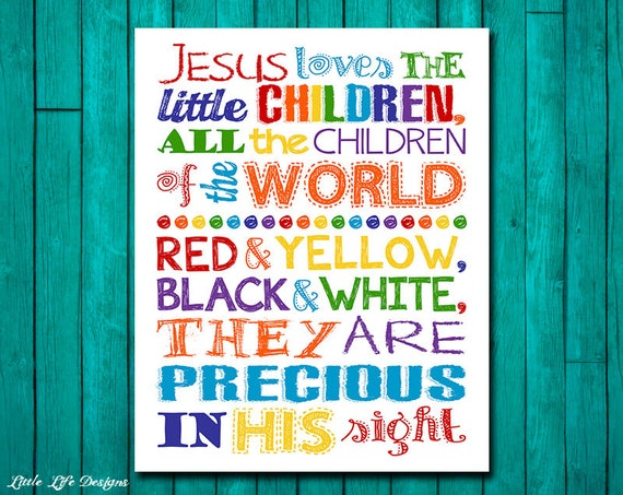 Jesus Loves The Little Children Wall Art. Childrens Church | Etsy